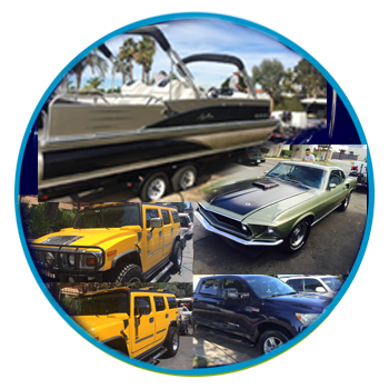 Autos, trucks, RVs, and boats